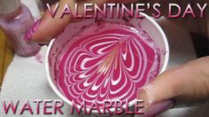 Valentine's Day Water Marble   DIY Nail Art Tutorial