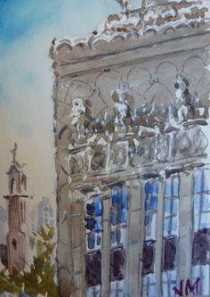 El Capitan Theatre ACEO Card Original artwork in Watercolor, Miniature art Aceo  | eBay