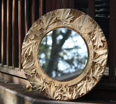 Unique Mandala Mirror wall decor made from reclaimed old growth wood.