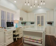 Design ideas for a traditional craft room in Houston with blue walls. Description from houzz.com. I searched for this on bing.com/images