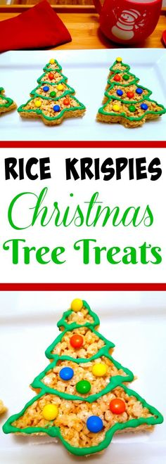 These Christmas Tree Rice Krispie Treats are a perfect holiday recipe that they kids will have fun making just as much as they will enjoy eating!