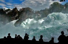 Rheinfall (Switzerland), via Flickr. (Observatory platform on the Rhine river, the biggest waterfall in Europe.)