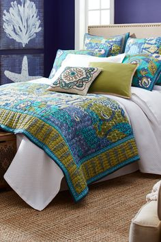 Perfect for cool looks and warm comfort in any bedroom, Pier 1's Floral Medley bedding brings classic, hand-quilted, 100% cotton quality to the largest expanse in the room. Generously sized for layered or stand-alone looks, this is a medley that plays well with others. Turn up the volume with coordinating standard, euro and king-sized shams.