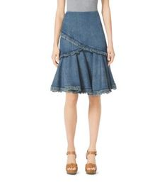 A Polished Basic With Free Spirited Twist Our Flared Denim Skirt Features Frayed