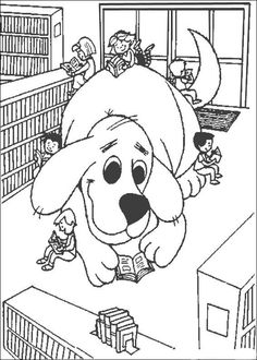 Clifford In Library The Big Red Dog Coloring Pages Great Way To Tie Rx For Summer Reading And Campaign