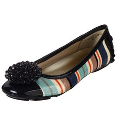 @Overstock - A unique bead cluster over the toe brings a stunning look to these Anne Klein flats. Vibrant stripes decorate these chic and sophisticated flats. http://www.overstock.com/Clothing-Shoes/AK-Anne-Klein-Womens-Bauble-Blue-Multi-Flats/6657902/product.html?CID=214117 $50.79