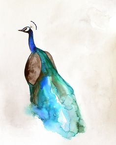 20% Off Holiday Sale - Peacock Watercolor Limited Edition 8 x 10 Giclee Print - Still ships in time for Christmas Eve delivery!