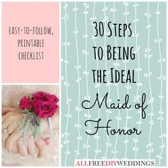 just in case this ever happens- Maid of Honor Duties | AllFreeDIYWeddings.com