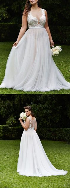 Gorgeous A-line White Long Chiffon Plus Size Wedding Dress