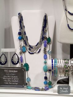 True Blue (doubled), Gemma & Blue Lagoon.  Looks great paired with Color Pop earrings & the Ombre stretch bangles!  #premierdesigns