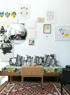 textile design on punee daybed...love and the modern lamp.
