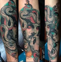 Thinking Medusa Tattoo. Her thoughts are so intense that no one can even imagine. That makes her so much mysterious.