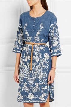 Embroidered Bellflower Dress. Hello Spring, Anthropologie, Anthropology.  Blue cotton-chambray Button fastenings along front 100% cotton; belt: 100%