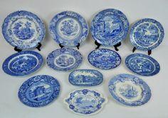 Antique English Blue & White Transfer Ware (12pc) : Lot 0195