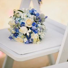 Like these flowers - blue and cream...