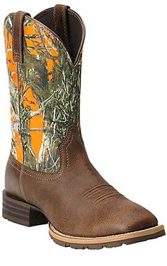 Ariat Hybrid Rancher Men's Brown with Orange True Timber Camo Top Square Toe Western Boot | Cavender's