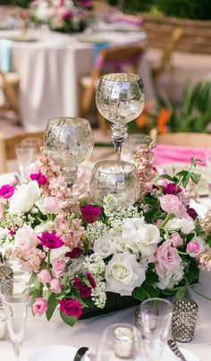 Beautiful pink & white table setting