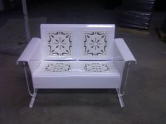 Beautiful White Powdercoat Two-toned With Oyster White Inserts.Vintage Metal Porch Glider.Let Us Create One For You!