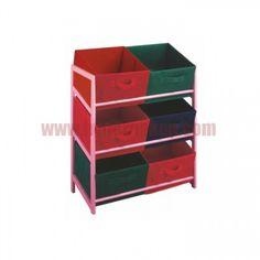 Viacúčelový regál s úložnými boxami z látky, ružový rám/farebné boxy, COLOR 96