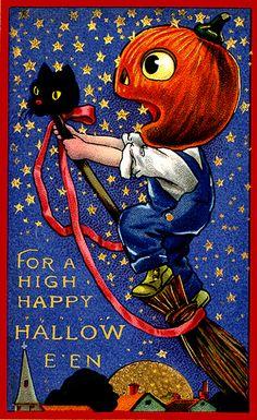 JOL Boy Flying Into Celestial Territory--Vintage Halloween Postcard