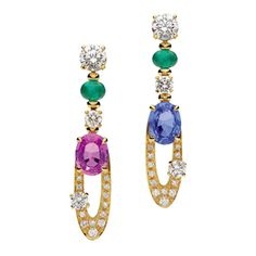 Bulgari Elisia Beautiful Pair of Gem Set Diamond Gold Pendant Earrings | From a unique collection of vintage drop earrings at https://www.1stdibs.com/jewelry/earrings/drop-earrings/