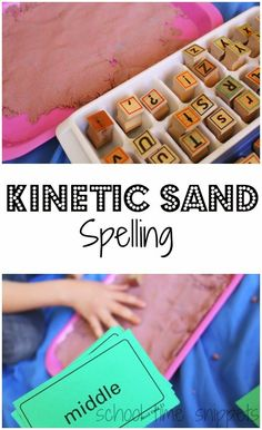 School Time Snippets: Stamp and Spell in Kinetic Sand. Pinned by SOS Inc. Resources. Follow all our boards at pinterest.com/sostherapy/ for therapy resources.