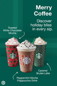 Three seasonal favorites are back and ready to bring joy to the holidays. For a limited time only, enjoy rich and enticing holiday flavors like the Toasted White Chocolate Mocha, Peppermint Mocha Frappuccino Drink and Caramel Brulée Latte. Try them all at Starbucks Café in Target. Starbucks Holiday Drinks, Starbucks Caramel, Starbucks Secret Menu, Starbucks Recipes, Christmas Drinks, Starbucks Frappuccino, Starbucks Coffee, Caramel Brulee Latte, Yogurt