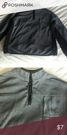 Men's size XL fleece pullover Men's size XL fleece pullover, gray and black. Has a small zip pocket on the front Jackets & Coats Lightweight & Shirt Jackets