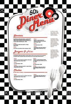 Late night retro Diner menu layout with red lettering royalty-free stock vector art Late night retro Diner menu layout 1950 Diner, Retro Diner, Vintage Diner, Vintage Menu, Vintage Restaurant, Diner Menu, Diner Party, Cafeteria Retro, 50s Theme Parties