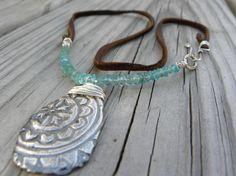 boho paisley leather fine silver pendant necklace