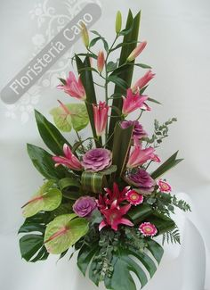 PINK LILLIES AND MAUVE ROSES