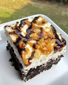 Snickers Cake (Printable Recipe)  1 box devils food cake mix, plus ingredients to make the cake 1 can sweetened condensed milk 1 jar Smucker...
