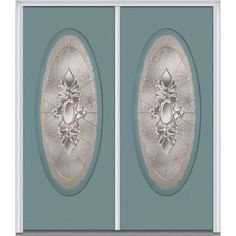 Milliken Millwork 74 in. x 81.75 in. Heirloom Master Decorative Glass Full Oval Lite Painted Majestic Steel Exterior Double Door, Riverway