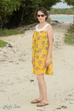 L'amour de la voile!  Knit Yoke Robe d'été avec modèle de tricot libre - Coudre une robe de taie d'oreiller et d'ajouter un joug tricot - Melly Coud