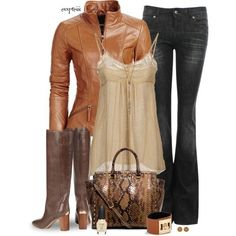 Leather jacket and brown boots