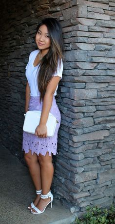 Today's modest church outfit featuring this purple lace cut out pencil skirt paired with Zara white v-neck, Steve Madden Sandals and Michael Kors clutch.