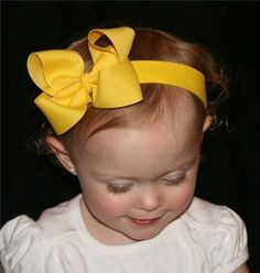 8e640dc9f83 Yellow Big Boutique Hair Bow Headband Baby by pamperedprincesses