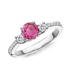 Angara Three Stone Pink Sapphire and Diamond Ring in Yellow Gold iQkP2lVM
