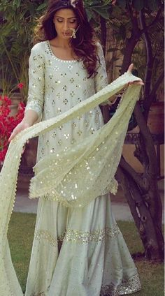 Pastel Green Cotton Silk Designer Sharara Suit for Party Express Shipping Pastel Green Sharara Suit is Designer Sharara Suit with Mirror Work Embroidery. Sharara Designs, Kurta Designs Women, Kurti Designs Party Wear, Pakistani Formal Dresses, Indian Gowns Dresses, Pakistani Dress Design, Pakistani Outfits, Sarara Dress, Lehnga Dress