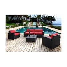 Bellini Home and Gardens UNW771053A136 Christopher 5 Pc.  Deep Seating Sofa Set, Red