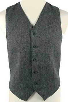 Men's Gray Wool Herringbone Vest