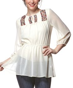 Look at this #zulilyfind! Ivory Sheer Ruched Keyhole Top by Young Threads #zulilyfinds