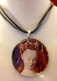 #Medieval #Noble #Woman #Round #Glass #Tile #Necklace by Eldwenne, $22.00 #etsy #handmade #jewelry #wiccan #pagan #SPN #supernatural