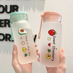 Cute Water Bottles, Glass Water Bottle, Drink Bottles, Fruit Water Bottle, Cute Fruit, Cute Food, Kawaii Room, Cute Cups, Cute Kitchen