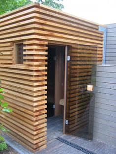 Infrarot Sauna, Sauna House, Sauna Room, Outdoor Sauna, Outdoor Sheds, Outdoor Pool, Patio House Ideas, Prefab Sheds, Sauna Design