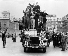 Celebrating the end of WW II, London 1945.