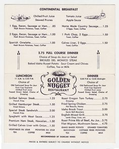 The Golden Nugget Gambling Hall Restaurant Menu folder Card