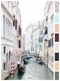 photograph of venice with coordinating color palette, greenish-gray, salmon pink, burgundy, dark navy blue, mint green, chalky-white