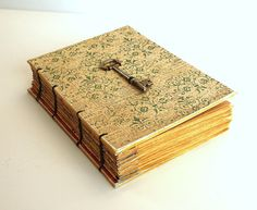 Aqua Journal with Vintage Skeleton Key by Thenibandquill on Etsy, $37.00-Very pretty!