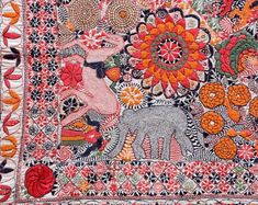 Like Orissa, Bengal is famous for its appliqué artwork. The lotus motif is used on many spiritual and cultural textile pieces, from yatra ba...